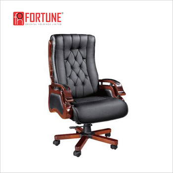 Classic Uk Wood Frame Black Genuine Leather Executive Office Chair .