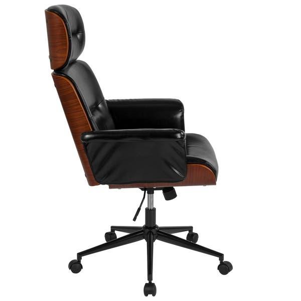 Shop Black LeatherSoft High Back Walnut Wood Executive Swivel .