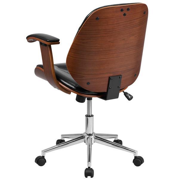 Flash Furniture Mid-Back Black Leather Executive Wood Swivel .