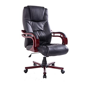 HomCom PU Leather / Wood High Back Executive Office Chair - Black .