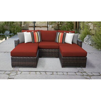 TK Classics River Brook 5 Piece Outdoor Wicker Patio Furniture Set .