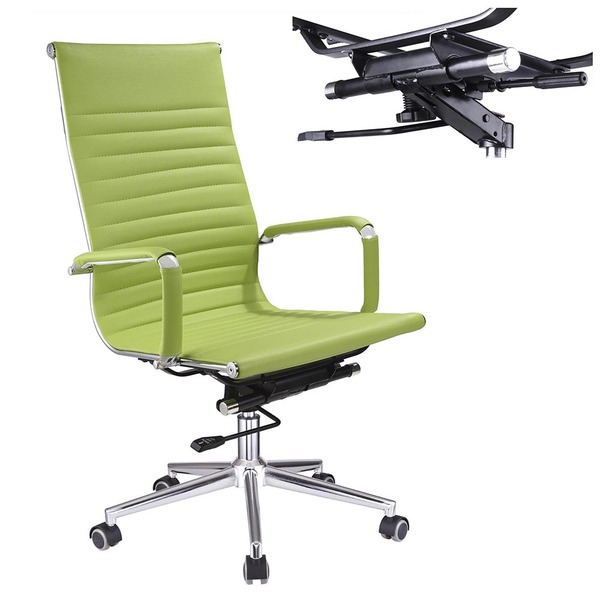 Executive High Back Ribbed PU Leather Swivel Office Computer Desk .