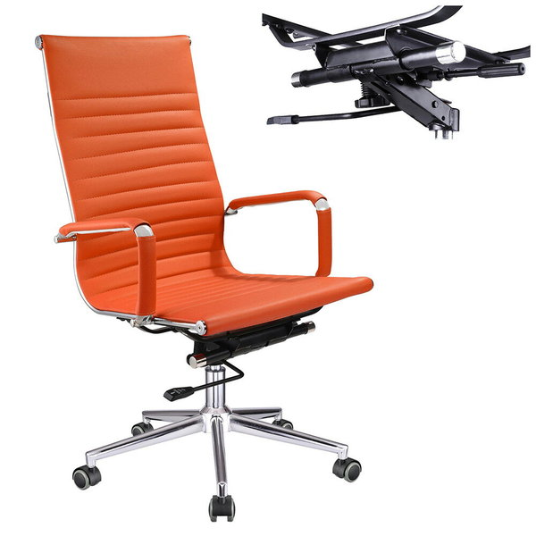 XL Executive Ergonomic High Back Ribbed PU Leather Swivel Office .