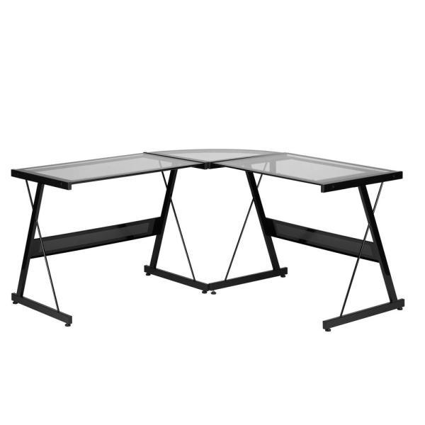 Z-Line Designs 55.3 in. L-Shaped Black Computer Desks with Glass .