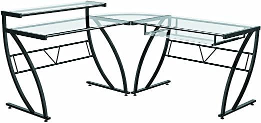 Amazon.com: Z-Line Belaire Glass L-Shaped Computer Desk: Kitchen .
