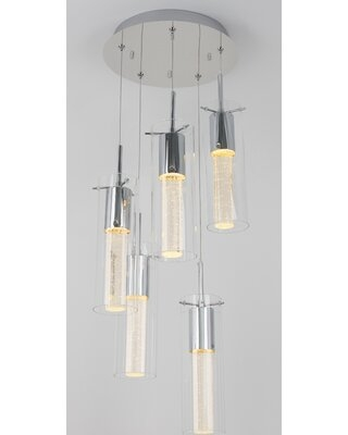 Zachery 5 Light Led Cluster Pendants