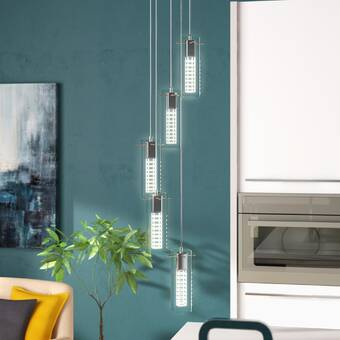 Wade Logan Foxburg 5 - Light Cluster Cylinder LED Pendant .
